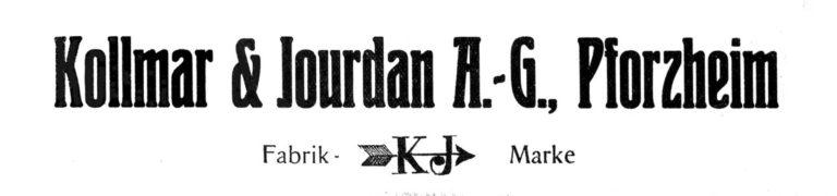 Kollmar & Jourdan, Pforzheim. Altes Logo